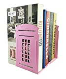 Winterworm Vintage Fashion British Style London Telephone Booth Kiosk Decorative Iron Metal Bookends Book End Book Organizer For Library School Office Desk Study Home Decoration Girl Gift (Pink)