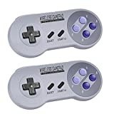Zeato 2.4GHz Wireless Controller for SNES Classic Edition, Rechargeable SNES Mini Wireless Gamepad with Retro/USB Receiver for Super NES Classic Edition (2Pack)