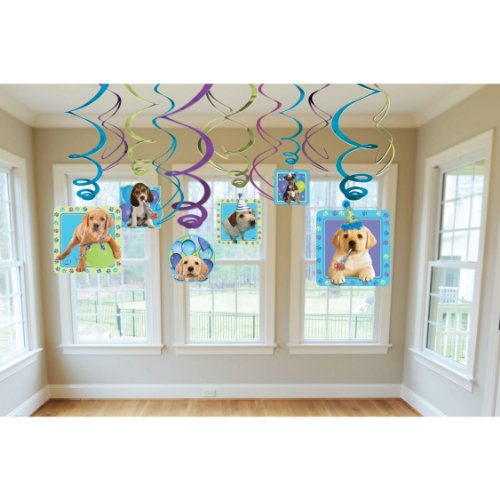 Amscan Adorable Party Pups Swirls Decorations Value Kit, Multicolor, (Puppy Party Supplies)