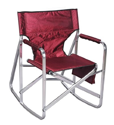 Stylish Camping Ming's Mark SL1205-BURGUNDY Folding Rocking Director's Chair-Burgundy