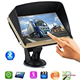 Bluetooth Capacitive Touch Screen 7 Inch Car Truck GPS Navigation 8G ROM Pre-installed North America Maps Lifetime Free Map Update with Sun Shade (Gold)