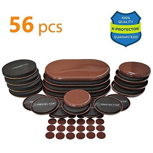 Furniture Sliders X-PROTECTOR - GIANT PACK 56 PCS - 20 pcs Furniture Sliders For Carpet & Felt Sliders + 36 Furniture Pads. BEST Set of Reusable Furniture Movers Sliders for (Rectangle Table Dolly)