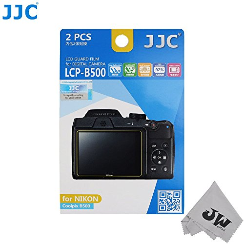 JW 2kits Low Reflection Anti-smudge High Transmission Perfect Cutting LCD Guard Film Display Screen Protector For Nikon Coolpix B500 Camera+JW Cleaning Cloth
