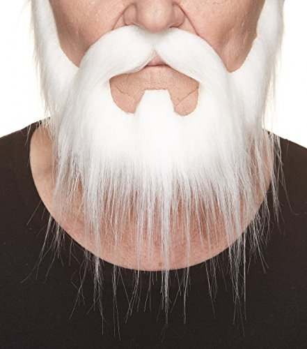 Mustaches Self Adhesive, Novelty, Nomad Fake Beard and Fake Mustache, False Facial Hair, Costume Accessory for Adults, White -