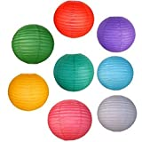 Just Artifacts 8 Assorted 12'' Chinese Paper Lanterns (Assorted Colors, 12-Inch) - Item as Pictured