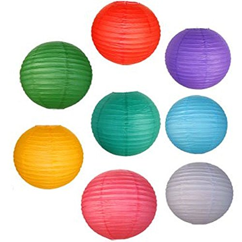 Just Artifacts 8 Assorted 8-Inch Chinese Paper Lanterns (Assorted Colors, 8-Inch) - Item as Pictured (Color Lanterns)
