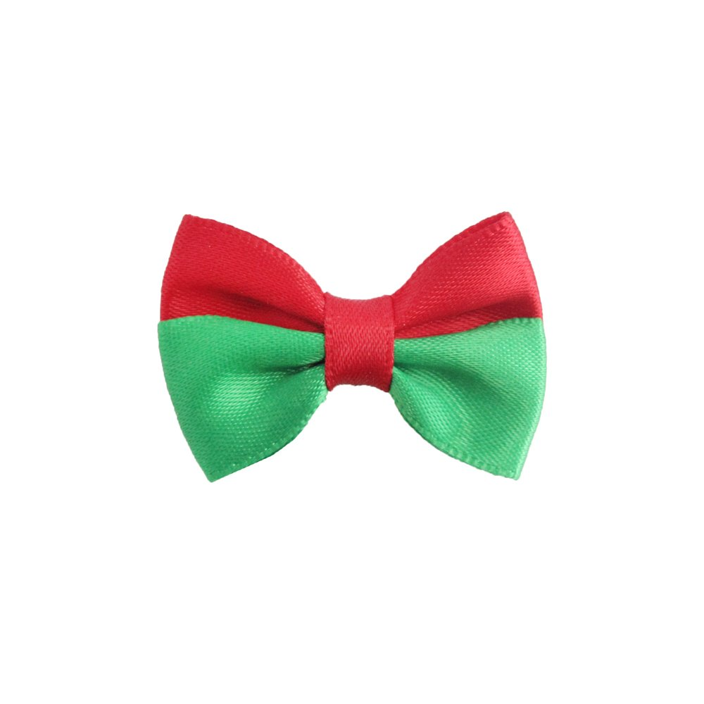 100PCs Handmade Christmas Dog Bow Tie Red Green Stripe Merry Christmas Dress up Puppy Pet