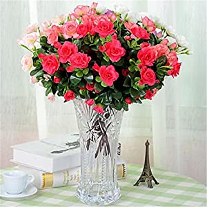 JJH 1 Branch Polyester Azalea Tabletop Flower Artificial Flowers 2