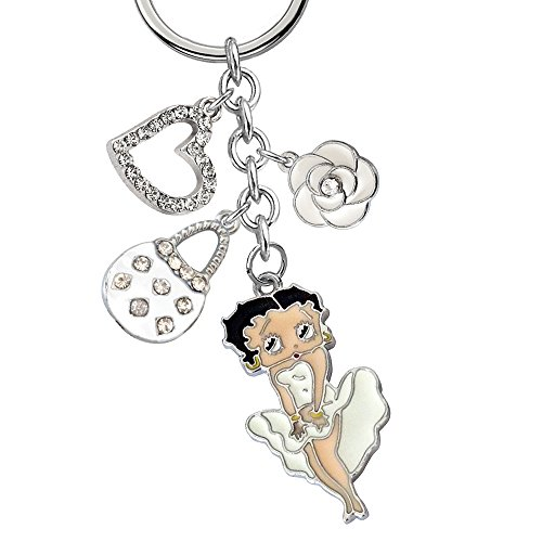 Boop Betty Love - New Cute Crystal Betty Boop Love Heart White Handbag Rose Flower Charms Keychain Z354-B