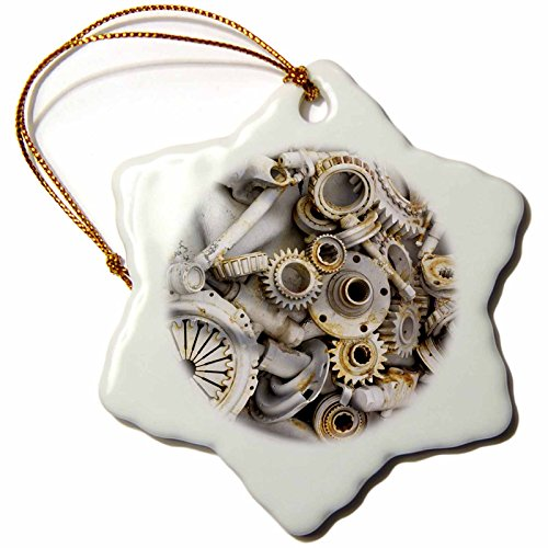 3dRose orn_45007_1 Steampunk Rusty Parts Snowflake Decorative Hanging Ornament, Porcelain, 3-Inch (Tree Steampunk Christmas)