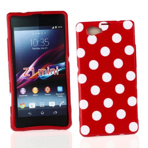 Kit Me Out US TPU Gel Case for Sony Xperia Z1 Compact - Red / White Polka Dots