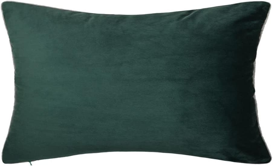 King Rose Solid Velvet Throw Pillowcase Super Luxury Soft Cushion Cover for Sofa Couch Chair Bed Living Room Decor 12 x 20 Inches Dark Green