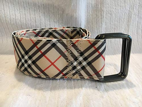 - Adjustable D Ring Belt, Plaid Belt, Ribbon Belt