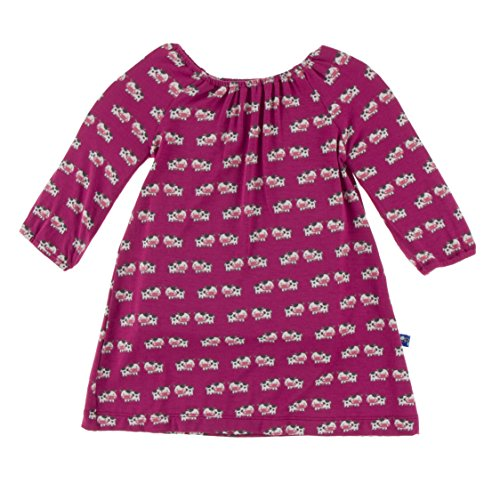 Toddler Red Peasant Dress (KicKee Pants Little Girls Print Long Sleeve Peasant Dress, Berry Cow, 3T)