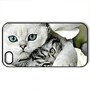 Best Friends - Case Cover for iPhone 4 and 4s (Cats Series, Watercolor style, Black) by supermalls