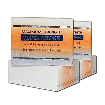 Pack de 2 jabón para blanquear la piel de glutatión con arbutino ácido kójico GC2