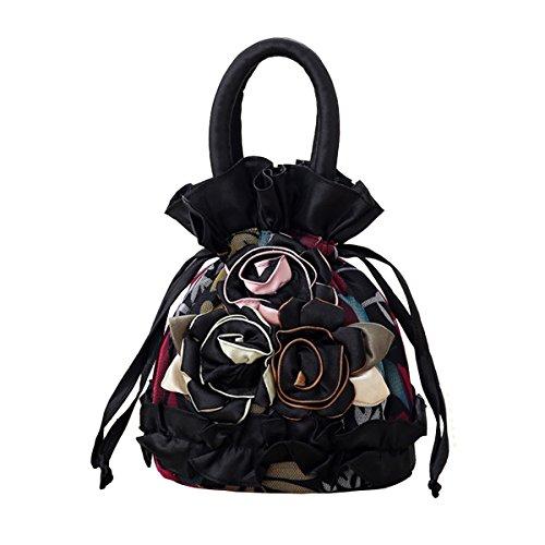 Womens Ladies Handbag Drawstring Bucket Bag Coin Purses Key Bags Cash Money Phone Pouches Black