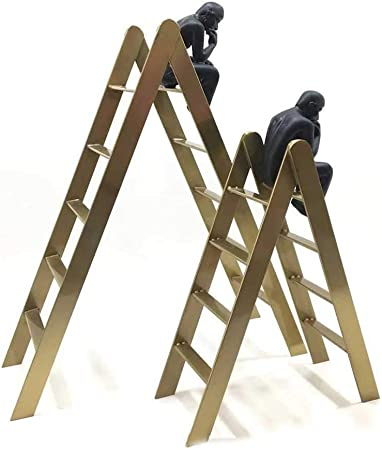 Feineshi La Escultura del Metal Crafts Pensador en la Escalera Escultura Adornos hogar Creativo de Escritorio de Oficina de Estar Decoración del Aula para el cumpleaños/Navidad,Apair: Amazon.es: Hogar