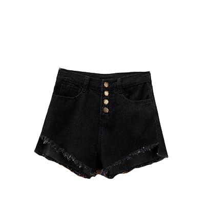 Abetteric Women Summer Sexy Fringed Cut-Out Unbalanced Summer Shorts Jean Shorts Black S