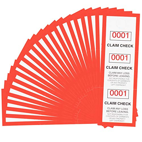 Juvale 1000 Pack 3 Part Coat Room Check Claim Tags with Serial Numbers 1-1000, 4.75 x 1.5 Inches
