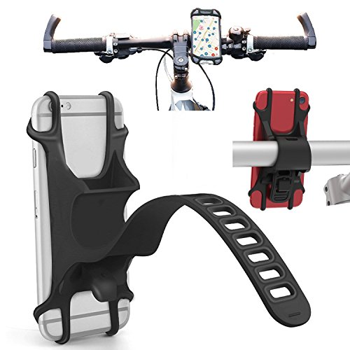 Bike Motorcycle Cell Phone Mount Universal Mountain Road Bicycle Handlebar Cradle Holder for Apple iPhone Xs MAX, XS, XR, X, 8 Plus, 8, 7 Plus, 7, 6S Plus, 6S, 6 Plus, 6, 5S, 5, SE, iPod (Black)