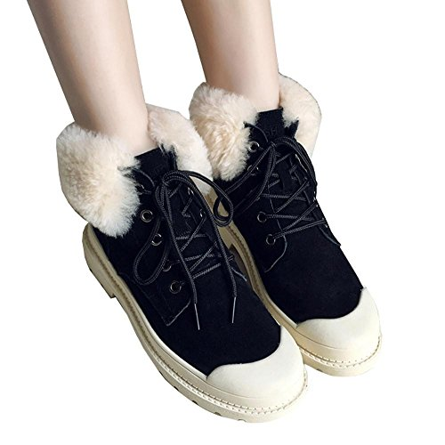Women Student Short Boots Leather Plush Flat Heels Casual Shoelace Ankle Shoes BLACK-36 OWdAcbd
