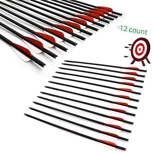 JY-Sports Crossbow Bolts 22'' Practice Archery Hunting Arrow Game Arrow Shaft and Target Arrow Shaft Replaceable Tips for Crossbow 12Pcs/Box(22