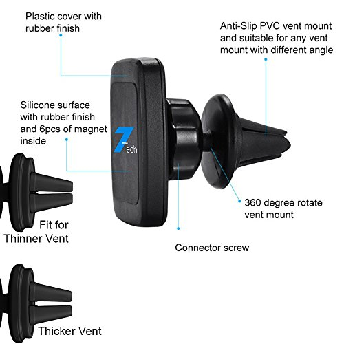 chic Magnetic car mount- Phone Holder For Car – Car Phone Mount – Magnetic Air Vent Car Mount – Universal Cell Phone Holder- Air Vent Mount- Car Phone Holder- iPhone Samsung and More. 7Tech 2in1