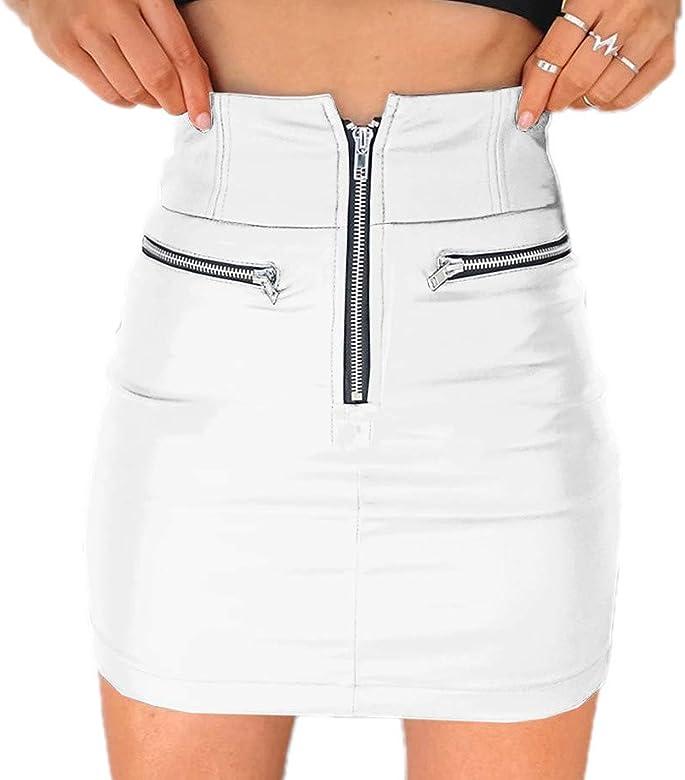 Hibasing Aspecto Mojado Cuero sintético Brillante de PVC Minifalda ...