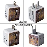 Charger Adapter Uppel Dual USB All-in-one Worldwide Travel Chargers Adapters for US EU UK AU about 150 countries Wall Universal Power Plug Adapter Charger with Dual USB and Safety Fuse (Pattern)