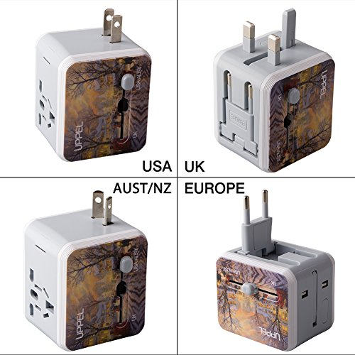 Travel Adapter Uppel Dual USB All-in-one Worldwide Travel Chargers Adapters for US EU UK AU about 154 countries Wall Universal Power Plug Adapter Charger with Dual USB and Safety Fuse (Pattern) by UPPEL