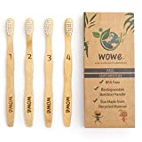 Wowe Kids Natural Organic Bamboo Toothbrush Individually Numbered Ergonomic, Soft BPA Free Bristles, Pack of 4