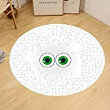 Gzhihine Custom round floor mat Trippy High-Tech Hardware Circuit Board Backdrop with Eye Forms Digital Picture Bedroom Living Room Dorm Pearl Black Jade Green