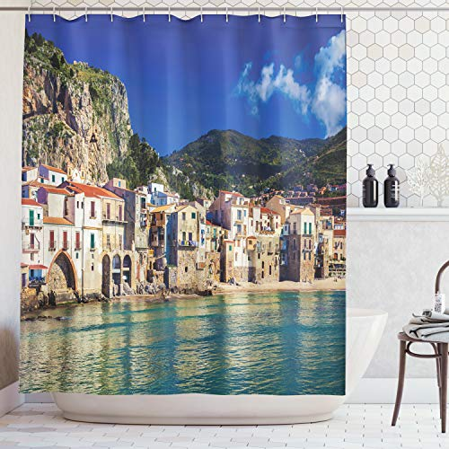 - Ambesonne Wanderlust Decor Collection, Cozy Old Houses in The Port of Cefalu Sicily Mediterranean Seaside Mountain Seascape Print, Polyester Fabric Bathroom Shower Curtain, 84 inches Extra Long, Teal