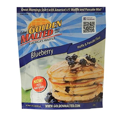 Carbon's Golden Malted Blueberry Waffle and Pancake Flour, 32 Ounce
