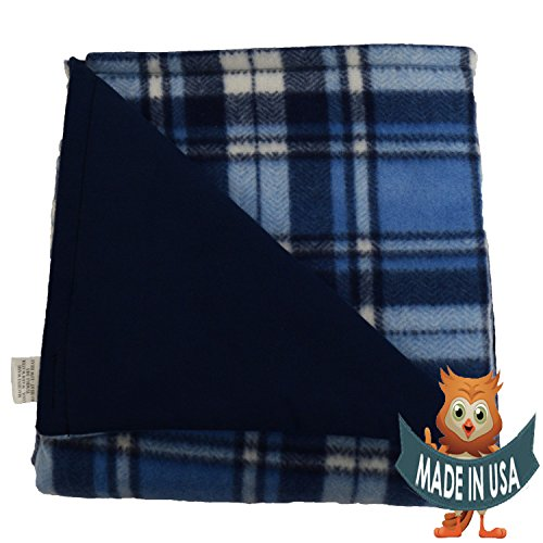 Child Small Weightd Blanket By Sensory Goods 5lb Medium Pressure - Herringbone-Blue II Pattern with Navy - Fleece/Flannel (30'' x 48'')