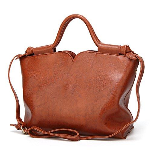 Informal Gran Capacidad PU Elegante Crossbody Portátil Bolsos De Mujer Hombro marrón
