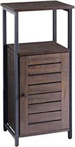 FIVEGIVEN Narrow Bathroom Storage Cabinet Rustic Industrial with Shutter Door/Shelf, Retro Espresso
