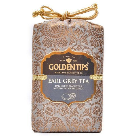 Golden Tips Darjeeling Earl Grey Black Tea (40+ Cups, 100gm) Brocade Bag  Natural Ingredients: Bergamot Oil Blended with Garden Fresh Darjeeling Loose Leaf ()
