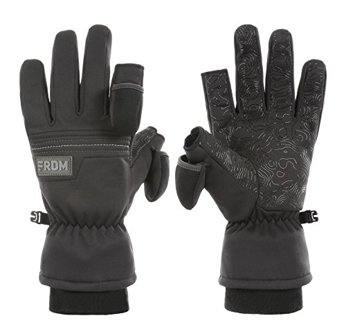(FRDM Unisex Midweight Gloves - Windproof, Waterproof Fabric, Thumb & Index Finger Caps, Touchscreen, Cold Weather Ski Glove)