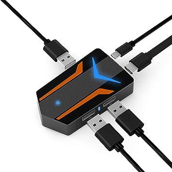 MiraScreen PUBG controlador de juego móvil, 4 en 1, adaptador de USB a HDMI para mouse