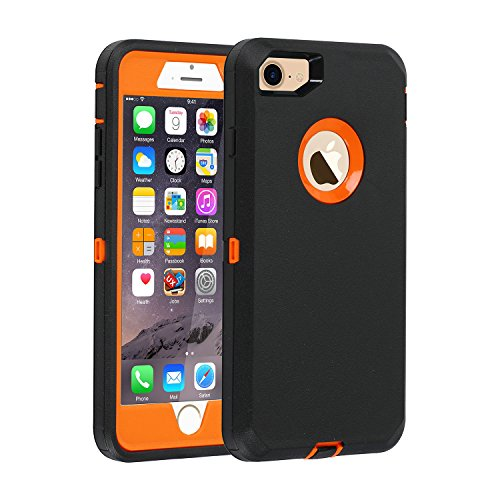 iPhone 7/8 case, [Heavy Duty] Armor 3 in 1 Built-in Screen Protector Rugged Cover Dust-Proof Shockproof Drop-Proof Scratch-Resistant Tough Shell for Apple iPhone 7 4.7 inch Black/Orange