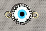 92.5 Sterling Silver Enamel Eye Round Connector Finding, Handmade Pave Diamond Evil Eye Connector Jewelry