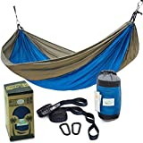 Rip Resistant Double Parachute Camping Hammock with 2 Multi Loops Tree Straps Included. Ultralight Nylon. Portable & Compact. Best for Hiking, Backpacking, Trek & Travel. Special Compression Bag