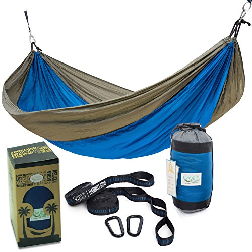 Rip Resistant Double Parachute Camping Hammock with 2 Multi Loops Tree Straps Included. Ultralight Nylon. Portable Compact. Best for Hiking, Backpacking, Trek Travel. Special Compression Bag