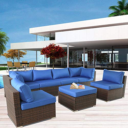 Outdoor Sofa Set Brown Rattan Couch Wicker 7PCS Sectional Conversation Lawn Garden Patio Furniture Set with Royal Blue Cushion