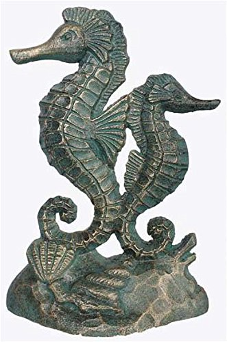 [Verdigris Cast Iron Door Stop Green Seahorses] (Seahorse Door)