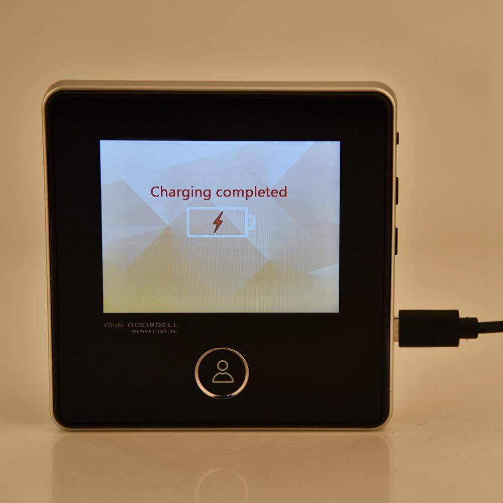 1MP 3,0 Pouces TFT LCD HD Judas /Électronique Num/érique Support IR Vision Nocturne 120 Degr/és Grand Angle Sonnette de Cam/éra Rechargeable pour Maison Sonnette Vid/éo Bureau.
