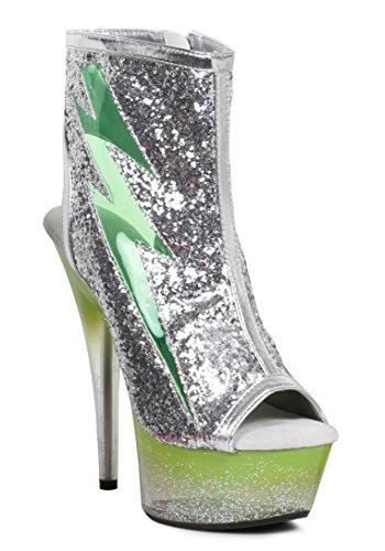 Ellie Shoes E-609-thunder 6 Bliksemschicht Verlicht Platform Groen