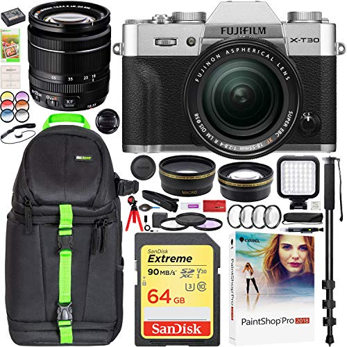 Fujifilm X-T30 Mirrorless 4K Wi-Fi Digital Camera Body w/XF 18-55mm f/2.8-4 Lens Silver Essential Bundle with Deco Gear Backpack + Wide Angle & Telephoto Lens + LED + 64GB + Filter Kit + Monopod